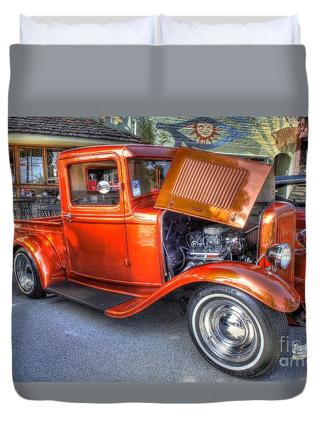 Old Timer Orange Truck Duvet Cover