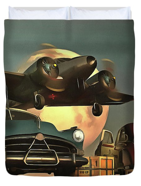 Old-timers With Airplane Duvet Cover