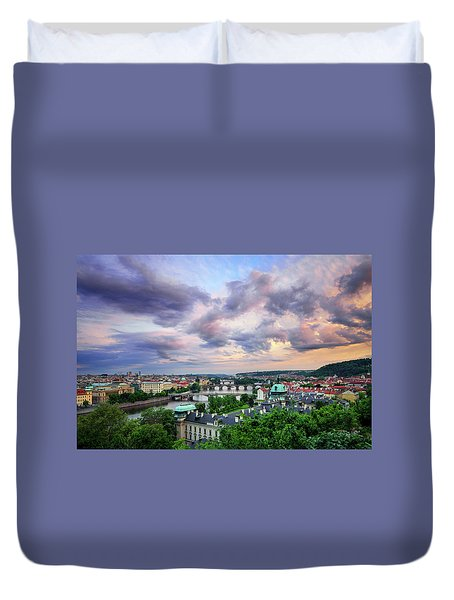 Old Town And Charles Bridge, Prague, Czech Republic Duvet Cover
