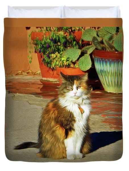 Duvet Cover featuring the photograph Old Town Cat by Nikolyn McDonald