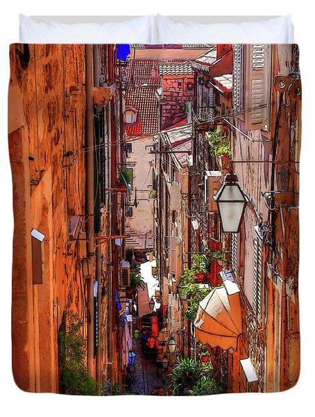 Old Town Dubrovniks Inner Passages Duvet Cover