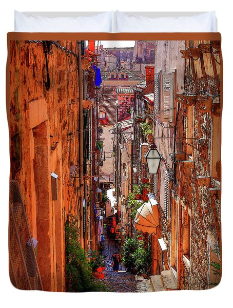 Duvet Cover featuring the photograph Old Town Dubrovniks Inner Passages by Lance Sheridan-Peel