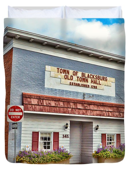 Old Town Hall Blacksburg Virginia Est 1798 Duvet Cover