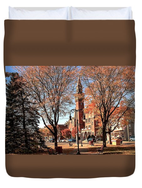 Old Town Hall In The Fall Duvet Cover