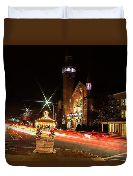 Old Town Hall Light Trails Duvet Cover