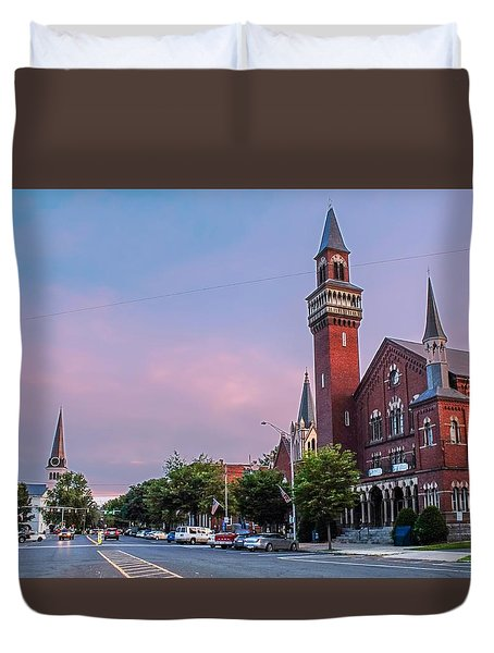 Old Town Hall Sunset Sky Duvet Cover