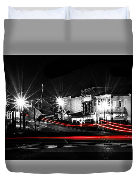 Old Town Helena At Night Duvet Cover by Shelby  Young