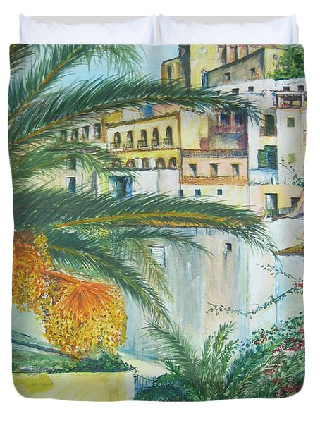 Old Town Ibiza Duvet Cover by Lizzy Forrester