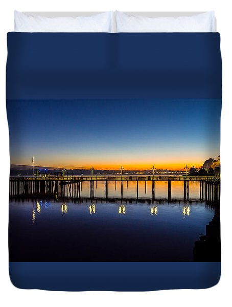 Old Town Pier Blue Hour Sunrise Duvet Cover