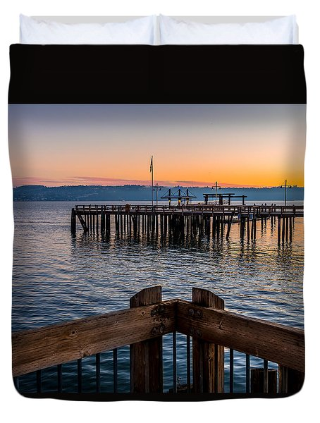 Old Town Pier During Sunrise On Commencement Bay Duvet Cover