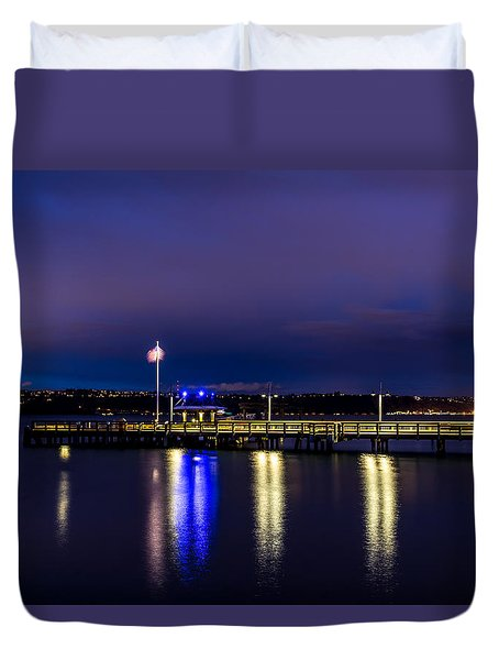 Old Town Pier During The Blue Hour Duvet Cover