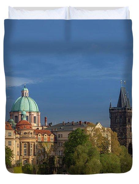 Old Town Prague  And Charles Bridge At Dusk Duvet Cover