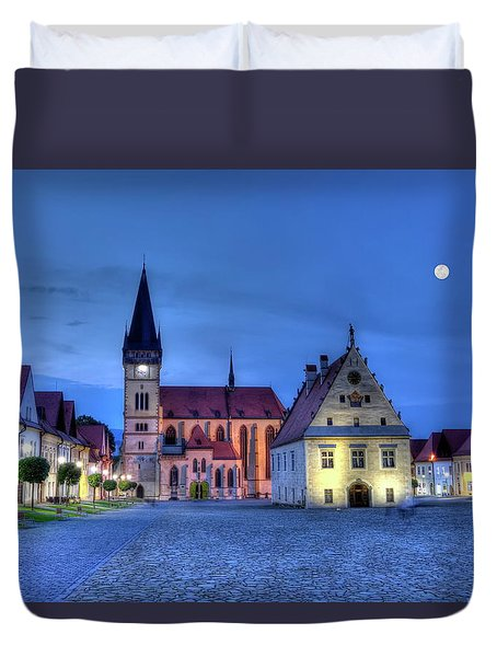 Old Town Square In Bardejov, Slovakia,hdr Duvet Cover by Elenarts - Elena Duvernay photo