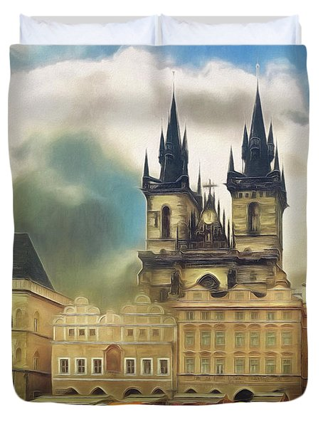 Old Town Square Prague In The Rain Duvet Cover