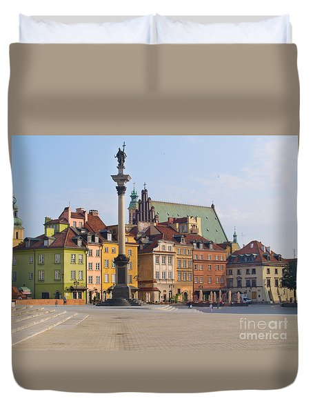 Old Town Square Zamkowy Plac In Warsaw Duvet Cover by Anastasy Yarmolovich