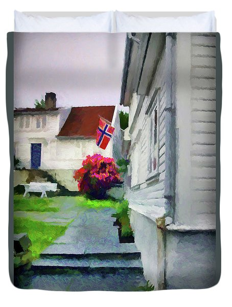 Old Town Stavanger - Painterly Duvet Cover by Susan Lafleur