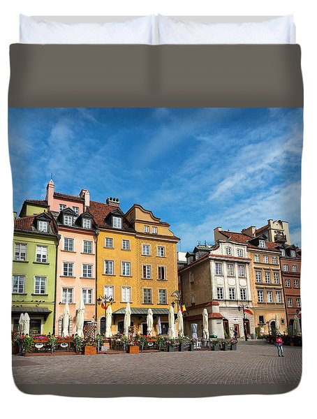 Duvet Cover featuring the photograph Old Town Warsaw by Chevy Fleet