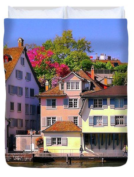 Old Town Zurich, Switzerland Duvet Cover