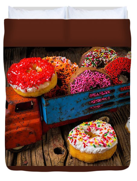Old Toy Truck And Donuts Duvet Cover by Garry Gay