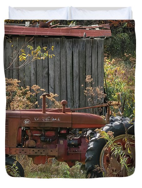 Old Tractor On The Farm. Duvet Cover