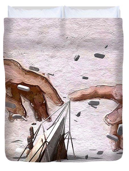 Traditional Art Vs. Digital Art Duvet Cover