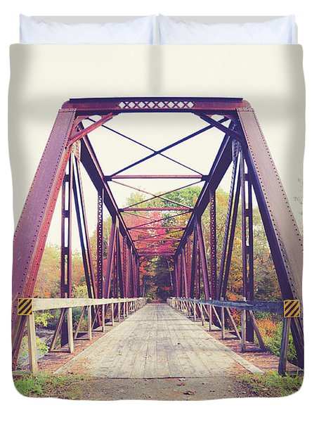 Duvet Cover featuring the photograph Old Train Bridge Newport New Hampshire by Edward Fielding