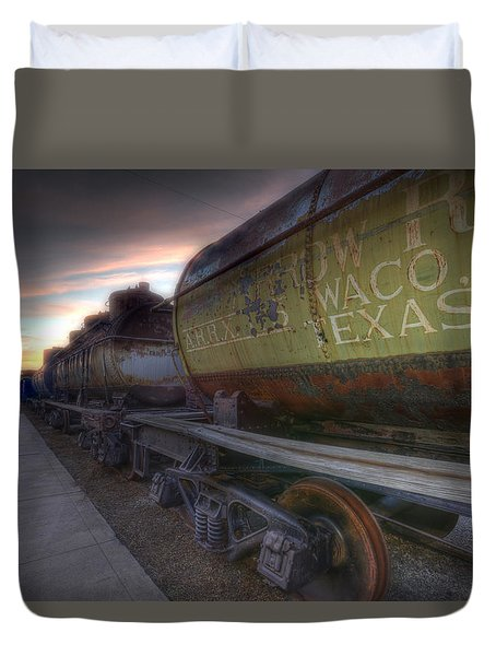 Duvet Cover featuring the tapestry - textile Old Train - Galveston, Tx 2 by Kathy Adams Clark