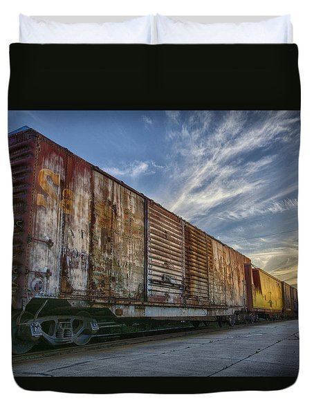 Duvet Cover featuring the tapestry - textile Old Train - Galveston, Tx by Kathy Adams Clark