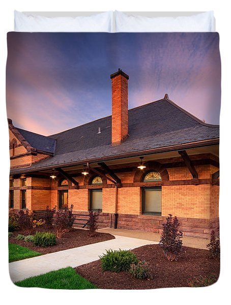 Old Train Station Duvet Cover by Emmanuel Panagiotakis