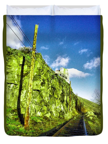 Duvet Cover featuring the photograph Old Trolly Tracks by Jeff Swan