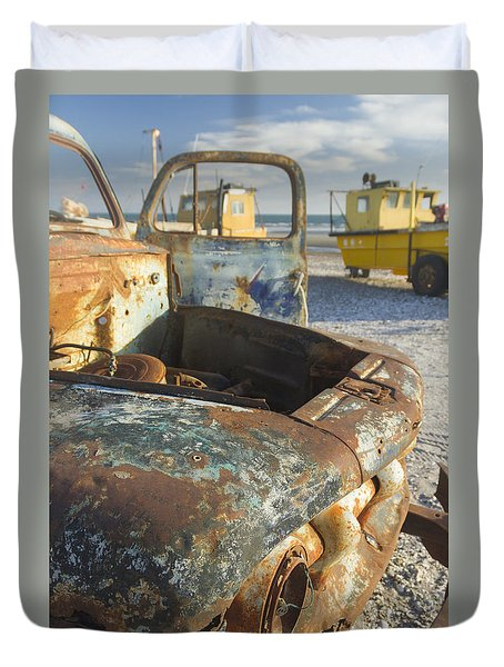 Old Truck In The Beach Duvet Cover