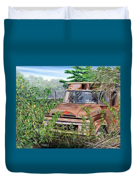 Old Truck Rusting Duvet Cover by Marilyn  McNish