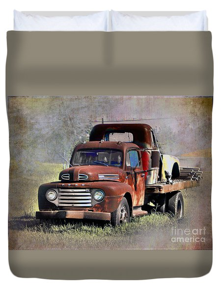 Duvet Cover featuring the photograph Old Trucks by Savannah Gibbs