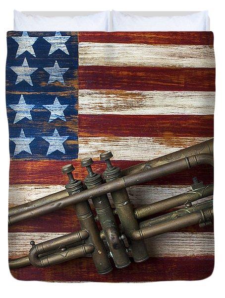 Old Trumpet On American Flag Duvet Cover
