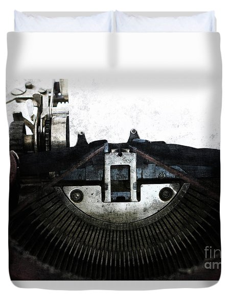 Old Typewriter Machine In Grunge Style Duvet Cover by Michal Boubin