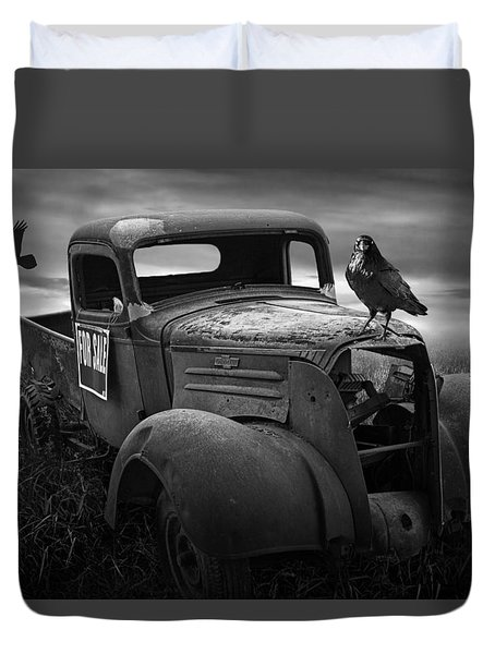 Old Vintage Chevy Pickup Truck With Ravens Duvet Cover