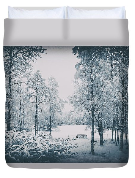Old Vintage Winter Landscape Duvet Cover by Christian Lagereek