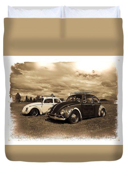 Old Vw Beetles Duvet Cover by Steve McKinzie