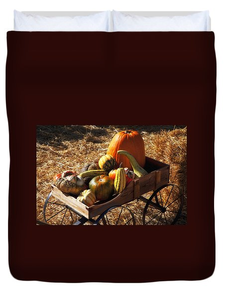 Old Wagon Full Of Autumn Fruit Duvet Cover by Garry Gay