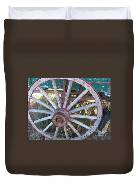 Duvet Cover featuring the photograph Old Wagon Wheel by Dora Sofia Caputo Photographic Art and Design
