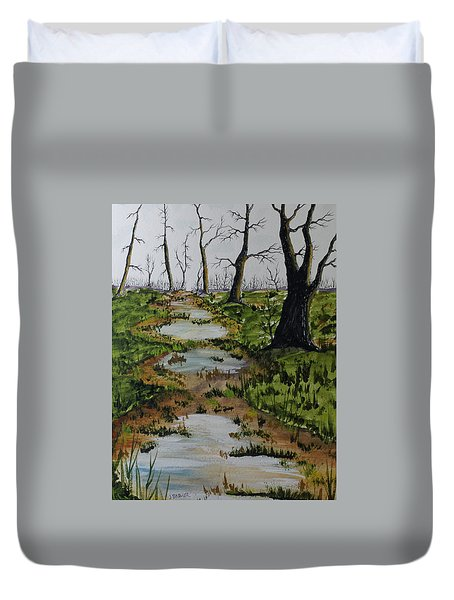 Duvet Cover featuring the painting Old Walking Trail by Jack G  Brauer