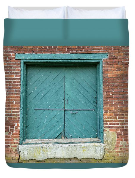Old Warehouse Loading Door And Brick Wall Duvet Cover