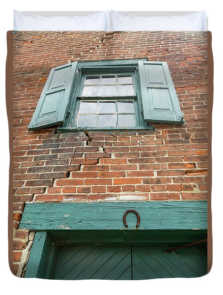 Old Warehouse Window And Lucky Door Duvet Cover