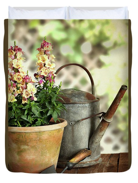 Old Watering Can With Plant Duvet Cover