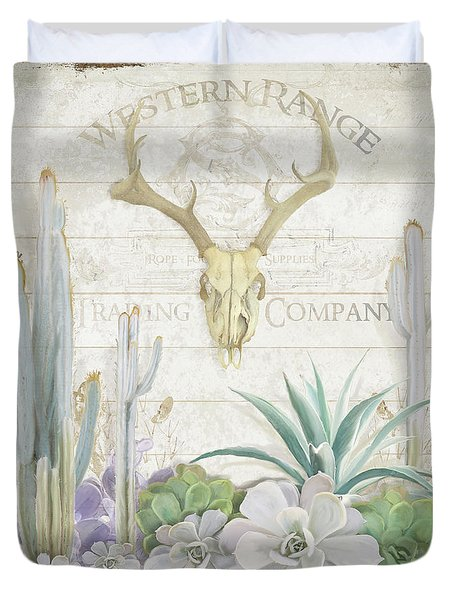 Duvet Cover featuring the painting Old West Cactus Garden W Deer Skull N Succulents Over Wood by Audrey Jeanne Roberts