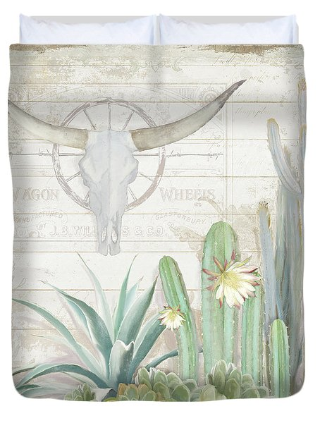 Duvet Cover featuring the painting Old West Cactus Garden W Longhorn Cow Skull N Succulents Over Wood by Audrey Jeanne Roberts