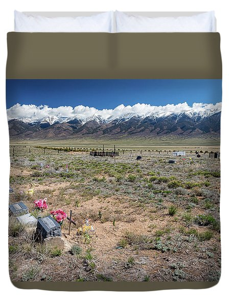 Old West Rocky Mountain Cemetery View Duvet Cover by James BO Insogna