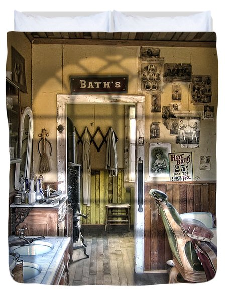 Old West Victorian Barber Shop Interior - Montana Territory Duvet Cover by Daniel Hagerman