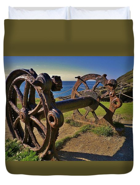 Old Winch Tintagel Duvet Cover by Richard Brookes
