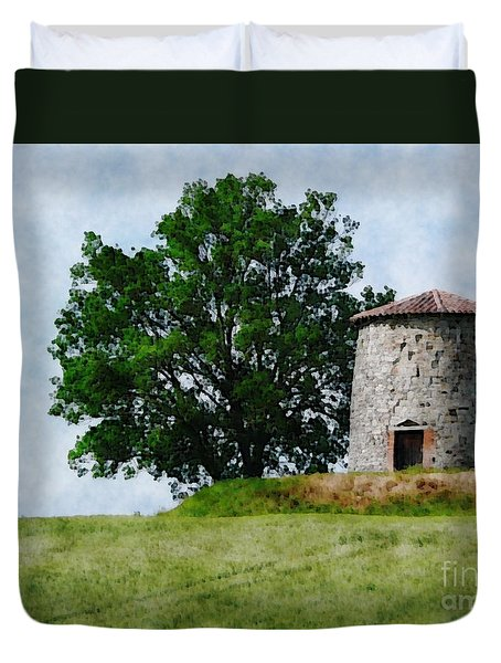 Duvet Cover featuring the photograph Old Windmill by Jean Bernard Roussilhe